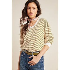 Anthropologie Top Hannah Striped Scoop Neck Top M